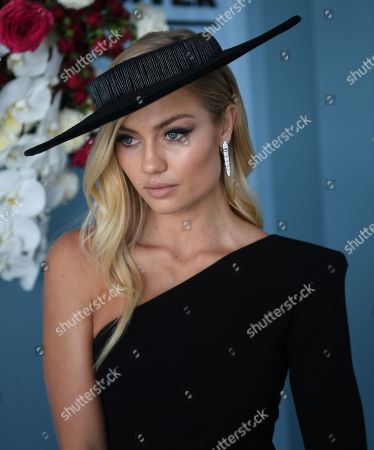 Australian model Elyse Knowles is seen at the Myer Fashions on the Field enclosure during the AAMI Victoria Derby Day, as part of the Melbourne Cup Carnival, at Flemington Racecourse in Melbourne, Victoria, Australia, 03 November 2018.