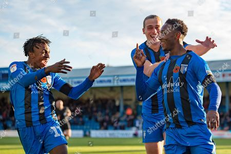 Gillingham FC forward Brandon Hanlan (7) scores a goal (1-0) and celebrates with team mate Gillingham FC forward Tom Eaves (9) and Gillingham FC midfielder Regan Charles-Cook (11) (left) during the EFL Sky Bet League 1 match between Gillingham and Fleetwood Town at the MEMS Priestfield Stadium, Gillingham