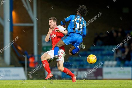 Fleetwood Town defender Nathan Sheron (29) and Gillingham FC midfielder Regan Charles-Cook (11) during the EFL Sky Bet League 1 match between Gillingham and Fleetwood Town at the MEMS Priestfield Stadium, Gillingham