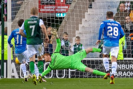 Adam Bogdan (#31) of Hibernian FC saves a penalty from Danny Swanson (#11) of St Johnstone FC during the Ladbrokes Scottish Premiership match between Hibernian and St Johnstone at Easter Road, Edinburgh