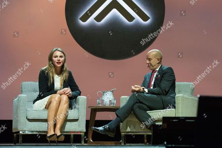Lara Logan, Anthony Romero. Lara Logan, left, and ACLU Executive Director, Anthony Romero seen on day one of Summit LA18 in Downtown Los Angeles, in Los Angeles