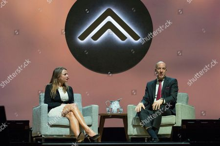 Stock Image of Lara Logan, Anthony Romero. Lara Logan, left, and ACLU Executive Director, Anthony Romero seen on day one of Summit LA18 in Downtown Los Angeles, in Los Angeles