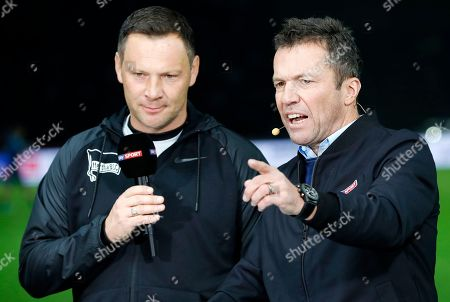 Hertha's head coach Pal Dardai (L) attends a TV interview with former German soccer playerr Lothar Matthaeus ahead of the German Bundesliga soccer match between Hertha Berlin and RB Leipzig, in Berlin, Germany, 03 November 2018.