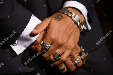 A detailed view of the hands of German singer Andreas Bourani upon his arrival for the 25th Opera Gala of the German Aids Foundation in Berlin, Germany, 03 November 2018.