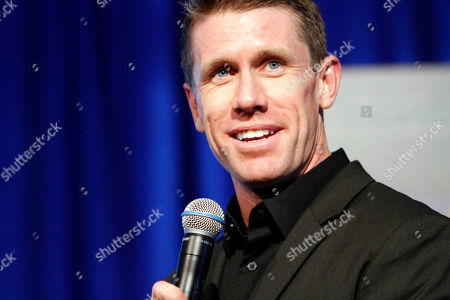 Retired NASCAR driver Carl Edwards speaks at his induction into the speedway's hall of fame at Texas Motor Speedway, in Fort Worth, Texas
