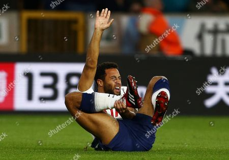Mousa Dembele of Tottenham Hotspur feels the pain from an injury