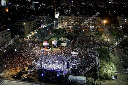 People gather to commemorate the 23th anniversary of the assassination of former Israeli Prime Minister Yitzhak Rabin, on Rabin Square in Tel Aviv, Israel, 03 November 2018 evening. Yitzhak Rabin was assassinated at a peace rally in support of the Oslo Accords on 04 November 1995, by an ultra-Orthodox Jewish gunman. The day marks the 23rd anniversary since the assassination according to the Hebrew calendar.