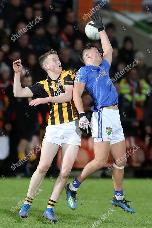 Crossmaglen (Armagh) vs Coalisland (Tyrone). Crossmaglen's Stephen Morris with Michael McKernan of Coalisland