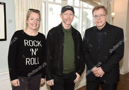 Gabrielle Stewart, director and producer Ron Howard, and producer Nigel Sinclair