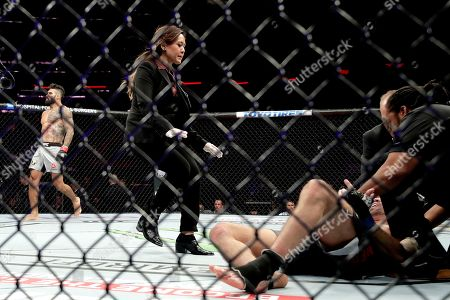 Stock Photo of Lyman Good, left, celebrates after knocking out Ben Saunders during the first round of a welterweight mixed martial arts bout at UFC 230, at Madison Square Garden in New York