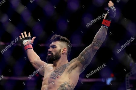 Stock Image of Lyman Good celebrates after knocking out Ben Saunders during the first round of a welterweight mixed martial arts bout at UFC 230, at Madison Square Garden in New York