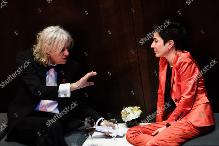 Irish singer-songwriter, author, political activist and actor Bob Geldof (L) and German journalist Dunja Hayali (R) talk during the 25th Opera Gala of the German Aids Foundation in Berlin, Germany, 03 November 2018. The gala is one of the most important charity events to be hosted in the German capital.