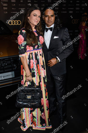 Christine Neubauer (L) and Jose Campos (R) arrive for the 25th Opera Gala of the German Aids Foundation in Berlin, Germany, 03 November 2018. The gala is one of the most important charity events to be hosted in the German capital.