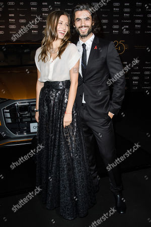 Nik Xhelilaj (R) and a guest arrive for the 25th Opera Gala of the German Aids Foundation in Berlin, Germany, 03 November 2018. The gala is one of the most important charity events to be hosted in the German capital.