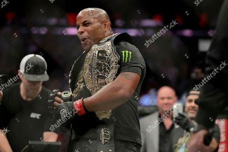 Daniel Cormier reacts after defeating Derrick Lewis by submission in the second round of a heavyweight mixed martial arts bout at UFC 230, early, at Madison Square Garden in New York