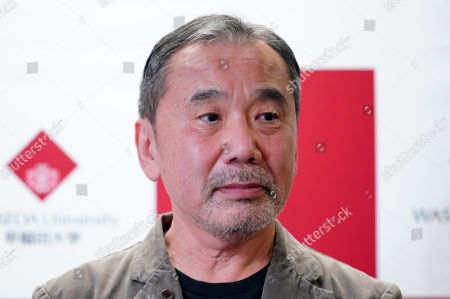 Stock Picture of Japanese novelist Haruki Murakami attends a press conference at Waseda University in Tokyo