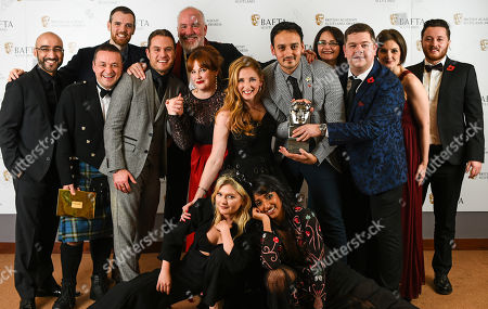 Stock Image of Grado, Chris Forbes, Manjot Sumal, Jack Docherty, Rab Christie, Ashley Smith, Sally Reid, Karen Bartke, Stuart McPherson, Joe Hullait, Jordan Young and Julie Wilson Nimmo - Televison, Scripted - 'Scot Squad' presented by Sophie Kennedy Clark and Kiran Sonia Sawar