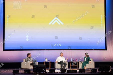 Stock Picture of J. D. Vance, Steve Case. J. D. Vance, left, and Steve Case, center, seen on day two of Summit LA18 in Downtown Los Angeles, in Los Angeles