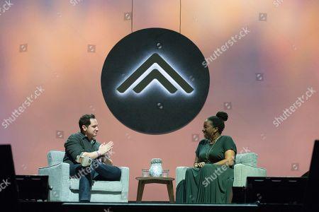 Matt McGorry, Tarana Burke. Matt McGorry, left, and Tarana Burke seen on day two of Summit LA18 in Downtown Los Angeles, in Los Angeles