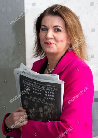 Stock Picture of Journalist and television presenter, Julia Hartley-Brewer arrives for The Andrew Marr Show