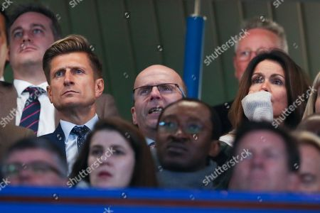 Crystal Palace Chairman Steve Parish with Susanna  Reid watching from the  directors Box