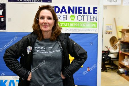 Volunteer Sandy Demico, of Downington, wears a shirt in support of Dr. Cristine Blasey Ford at a canvassing kick off event for the 06 November midterm elections at a PA Dems field office, in Exton, Pennsylvania, USA, 04 November 2018.