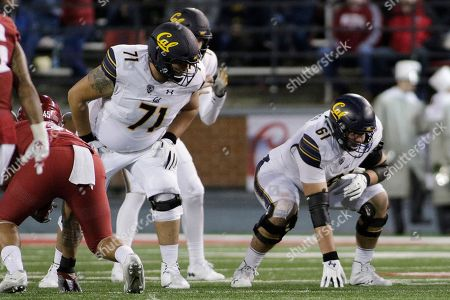 California offensive lineman Jake Curhan (71) and offensive lineman Valentino Daltoso (61) line up for a play during the first half of an NCAA college football game against Washington State in Pullman, Wash