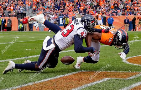 Houston Texans defensive back Shareece Wright (43) breaks up a pass intended for Denver Broncos wide receiver Courtland Sutton (14) during the first half of an NFL football game, in Denver