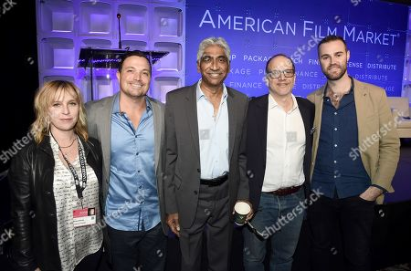 Stock Photo of Miranda Bailey, CEO, Cold Iron Pictures, Richard Botto, Founder & CEO, Stage 32, Ashok Amritraj, Chairman & CEO, Hyde Park Entertainment, Gary Michael Walters, CEO, Bold Films, and Jeffrey Greenstein, President, Millennium Media