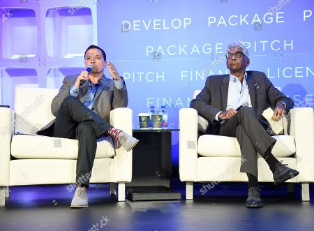 Stock Image of Richard Botto, Founder & CEO, Stage 32, and Ashok Amritraj, Chairman & CEO, Hyde Park Entertainment