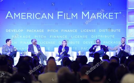 Richard Botto, Founder & CEO, Stage 32, Ashok Amritraj, Chairman & CEO, Hyde Park Entertainment, Miranda Bailey, CEO, Cold Iron Pictures, Gary Michael Walters, CEO, Bold Films, and Jeffrey Greenstein, President, Millennium Media