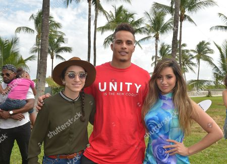 Rashawn Scott, NFL Dolphins player #87 WR, Emily Estefan, Michelle Sussett and Kenny Stills, NFL Dolphins player #10 WR