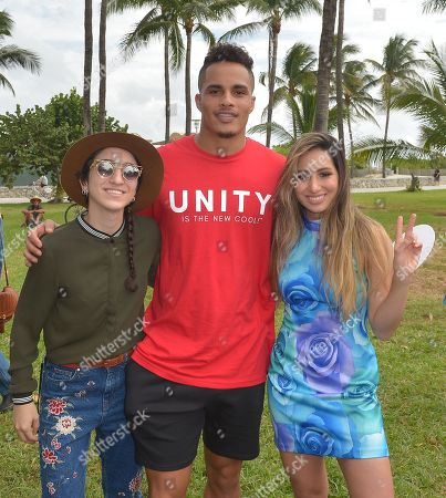 Emily Estefan, Michelle Sussett and Kenny Stills, NFL Dolphins player #10 WR