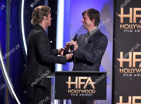 "Brad Pitt, Felix Van Groeningen. Brad Pitt, left, presents the Hollywood breakthrough director award to Felix Van Groeningen for ""Beautiful Boy"""