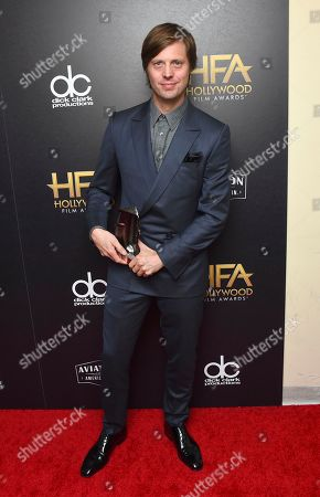 """Felix Van Groeningen, winner of the Hollywood breakthrough director award for """"Beautiful Boy,"""" poses in the press room at the Hollywood Film Awards, at the Beverly Hilton Hotel in Beverly Hills, Calif"""