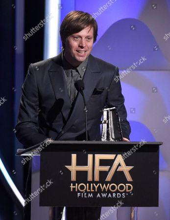 "Felix Van Groeningen accepts the Hollywood breakthrough director award for ""Beautiful Boy"""