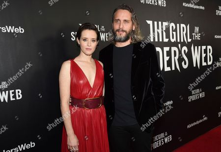 "Stock Image of Claire Foy, Fede Alvarez. Actor Claire Foy, left, and director Fede Alvarez attend a special screening of ""The Girl in the Spider's Web: A New Dragon Tattoo Story"" at the Henry Luce Auditorium, in New York"