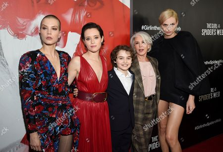 "Sylvia Hoeks, Claire Foy, Christopher Convery, Elizabeth Cantillon, Andreja Pejic. Actor Sylvia Hoeks, left, actor Claire Foy, actor Christopher Convery, producer Elizabeth Cantillon and actor Andreja Pejic pose together at a special screening of ""The Girl in the Spider's Web: A New Dragon Tattoo Story"" at the Henry Luce Auditorium, in New York"