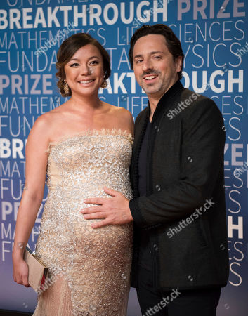 Nicole Shanahan and Sergey Brin arrive at the 7th annual Breakthrough Prize Ceremony at the NASA Ames Research Center on in Mountain View, California
