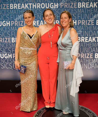 Anne, Janet and Susan Wojcicki arrive at the 7th annual Breakthrough Prize Ceremony at the NASA Ames Research Center on in Mountain View, Calif