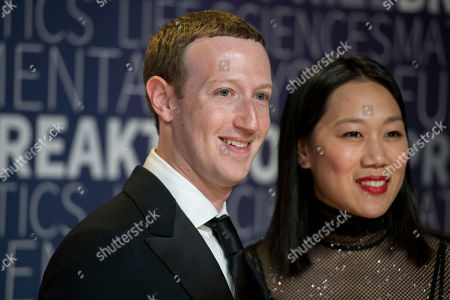 Mark Zuckerberg and Priscilla Chan arrive at the 7th annual Breakthrough Prize Ceremony at the NASA Ames Research Center on in Mountain View, California