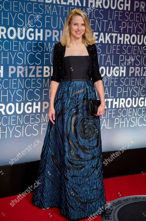 Marissa Mayer arrives at the 7th annual Breakthrough Prize Ceremony at the NASA Ames Research Center on in Mountain View, Calif