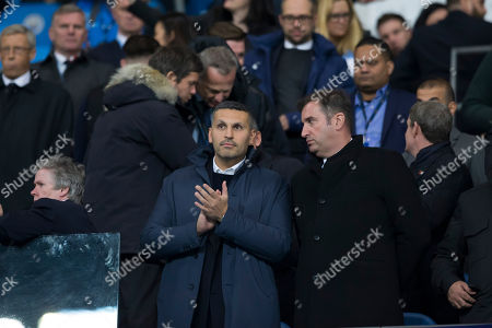 Manchester City Chairman Khaldoon Al Mubarak centre and Chief Executive Officer Ferran Soriano centre right are seen before the game