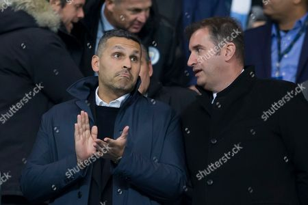 Manchester City Chairman Khaldoon Al Mubarak left and Chief Executive Officer Ferran Soriano are seen before the game