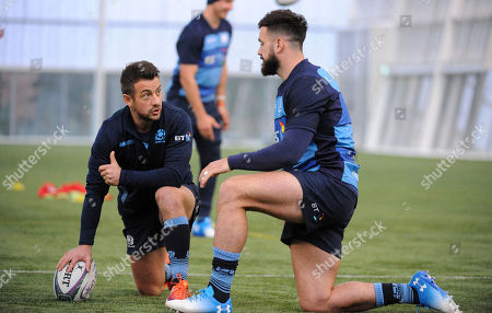 Greig Laidlaw - Scotland scrum half is back training with the squad as he chats with Alex Dunbar ahead of Saturday?s test match against Fiji at Murrayfield Stadium.