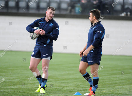 Stuart Hogg and Greig Laidlaw - Scotland players are back training with the squad ahead of Saturday?s test match against Fiji at Murrayfield Stadium.