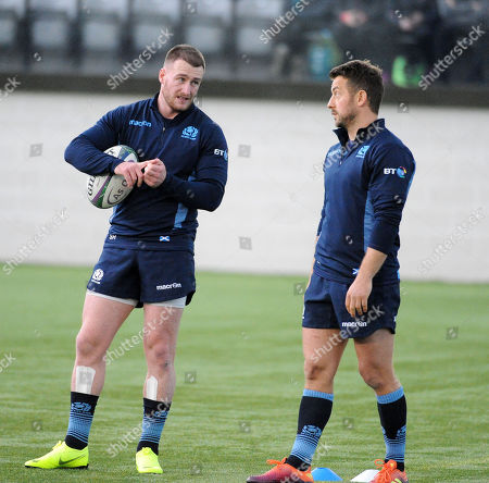 Stuart Hogg and Greig Laidlaw (R) - Scotland players are back training with the squad ahead of Saturday?s test match against Fiji at Murrayfield Stadium.