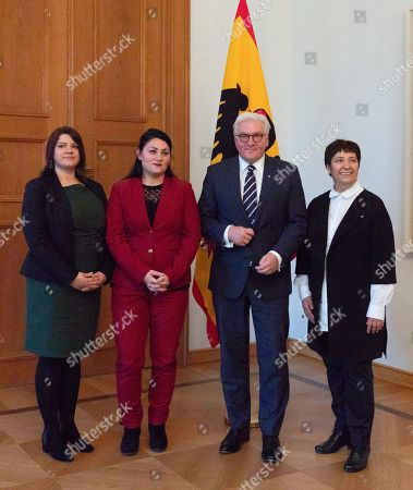 Stock Photo of (L-R) Chairwoman of the Liberal Islamic Federation e.V. (LIB) Odette Yilmaz, Founding chairman of the Liberal Islamic Federation Lamya Kaddor, German President Frank-Walter Steinmeier and Women's rights activist Seyran Ates, who opened Ibn Ruschd-Goethe mosque, during a meeting at the Bellevue Palace in Berlin, Germany, 05 November 2018. German President Steinmeier had a meeting with representatives of the Liberal Islamic Federation e. V. and the Ibn Rushd-Goethe Mosque.