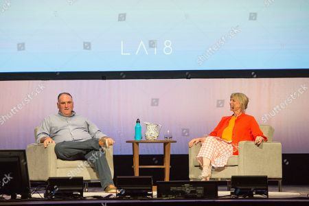 Jose Andres, Mary Sue Milliken. Jose Andres, left, and Mary Sue Milliken seen on day three of Summit LA18 in Downtown Los Angeles, in Los Angeles