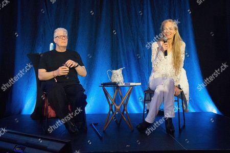 Suzy Amis Cameron, Sir Ken Robinson. Sir Ken Robinson, left, and Suzy Amis Cameron seen on day three of Summit LA18 in Downtown Los Angeles, in Los Angeles